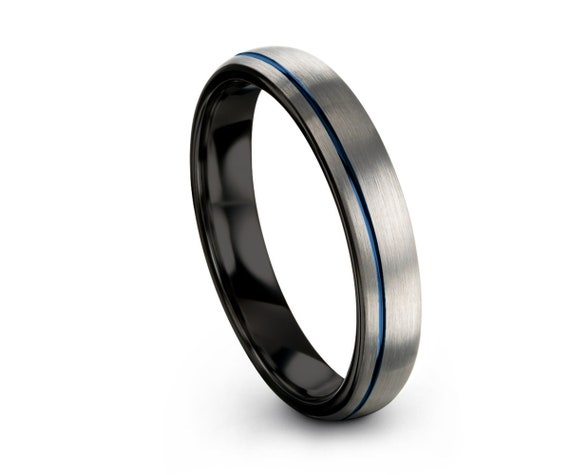 Blue Offset Line Unisex Wedding Band Brushed Silver, 4mm Tungsten Ring, Wedding Ring, Engagement Ring, Promise Ring, Perfect Gift Idea