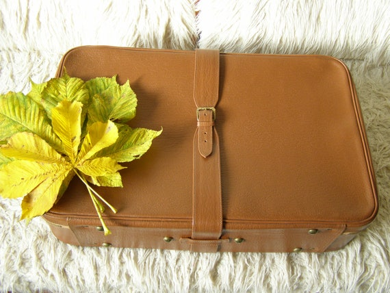 Vintage Suitcase. Large Brown Suitcase for Traveli