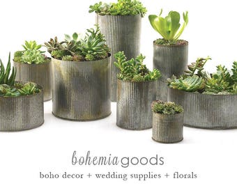 Galvanized Planter, 7 Sizes, Large Planer, Indoor Planter, Galvanized  Metal, Galvanized, Zinc, Planter Pot, Zinc Planter, Rustic Wedding
