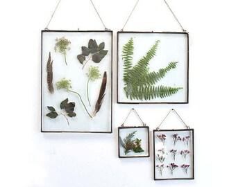Clear glass frame, picture frame, wedding frame, photo frame, rustic frame, pressed flowers, pressed leaves, zinc frame, wall decor, wedding