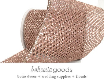 10 YD Rose Gold wired Ribbon, mesh, Rose Gold Ribbon, Rose Gold Gift Wrap, Rose Gold Glitter Ribbon, Boho Decor, Bohemian, Rose Gold wedding