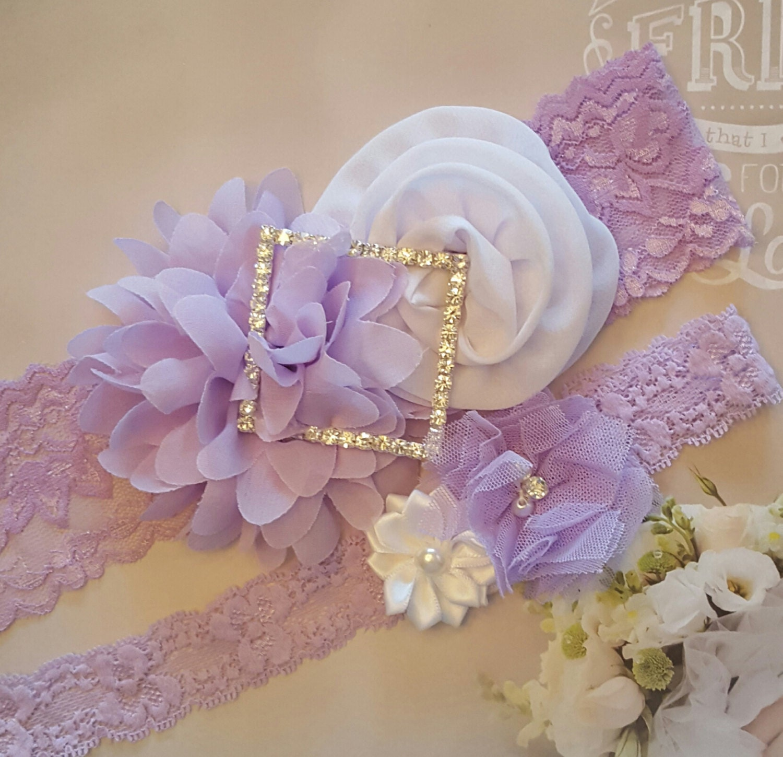 White Wedding Garter: Pastel Lavender And White Wedding Garter SetViolet And