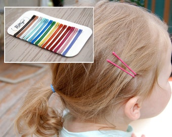 Mini colored bobby pins, little girl toddler hair pins, small cute 4cm bobby pin, tiny kid painted bobby pin, colorful small dancer hair pin