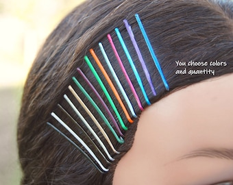 Cute bobby pins, painted bobby pins, custom colored bobby pins, bridal hair pins, school colors, cosplay hair, wig pins, halloween hair
