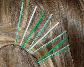 Green and white crackle bobby pins, green bobby pins, crackle painted bobby pin, colorful bobby pin, colored bobby pins, crackle accessories