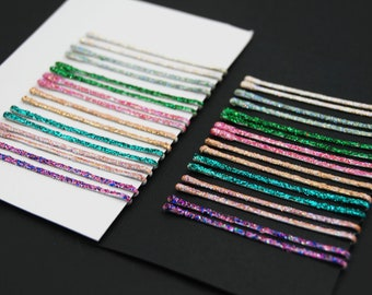 Glitter bobby pins, cute glam style variety set of 2 inch sparkle bobby pins, colorful decorative glitter bobby pins, treat yourself gift