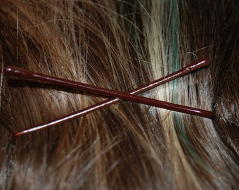 Chocolate mocha brown 2 inch bobby pins, natural brown color bridal updo bobby pins, neutral brunette subtle bobby pins, invisible bobby pin