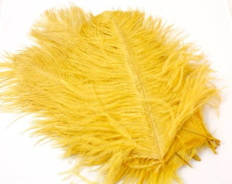9-11 Inch Gold Ostrich Feathers. Gold Bird Feathers. Gold Feathers. Yellow Ostrich. Yellow Bird. Yellow Feathers. Gold Plumes. Gold Hat