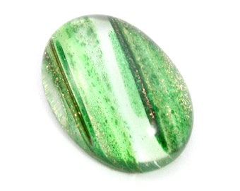 Oval Quartz Cabochon. Green Lined Stone for Making Bead Emboidery Bib Necklaces.