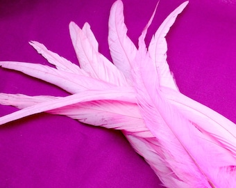 9-11 Inches Rooster Tail Feathers. (5) Long Pink Feather. Millinery Supplies. Pink Headdress Supplies. Bird Feather For Crafts. Pink Hat
