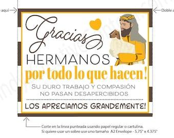 Spanish Printable Thank You Brothers Card, Encouraging Printable, E card,  Downloadable, Printable Jw gift, Jw printable, Jw downloadable