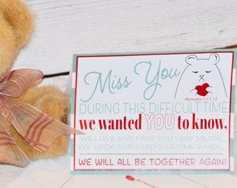 Printable Miss You Card, Encouraging Printable, E card,  Downloadable, Printable gift card, Gift card, print me card