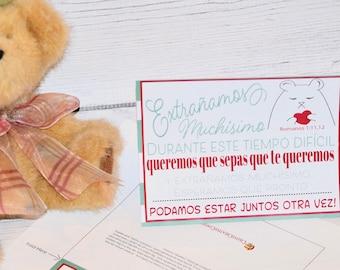Spanish Printable Miss You Card, Encouraging Printable, E card,  Downloadable, Printable gift card, Gift card, print me card