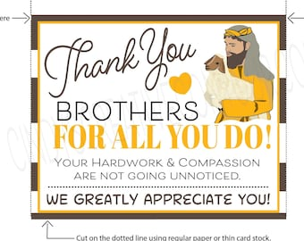 Printable Thank You Brothers Card, Encouraging Printable, E card,  Downloadable, Printable Jw gift, Jw printable, Jw downloadable
