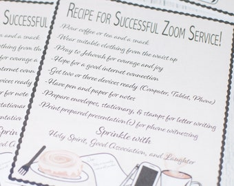 Recipe for Successful Zoom Service - JW Pioneer School gifts - JW pioneer school - JW Pioneer gifts - Jw Downloadable - Jw Printable