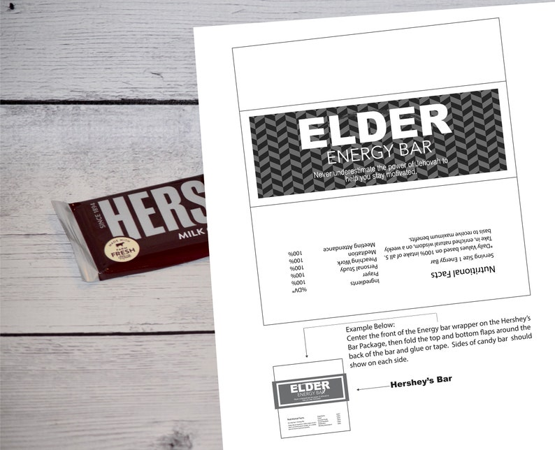 1 Jw Black & White Elder Large Hershey Energy bar Label   Jw image 0