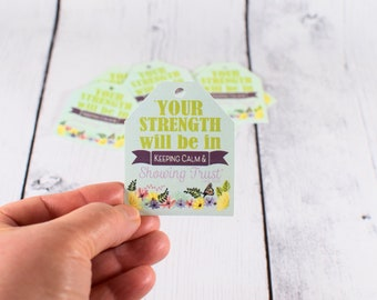 Set of 9 tags - Strength tag, tag for get well package, tag for envelope, Isa 30:15, Trust tag, Your Strength, Keep Calm