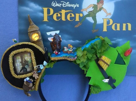LIGHT UP 3D Captain Hook Inspired Mouse Ears with light up Trapped Tinkerbelllight up mickey earsDisneyland earsMinnie mouse ears