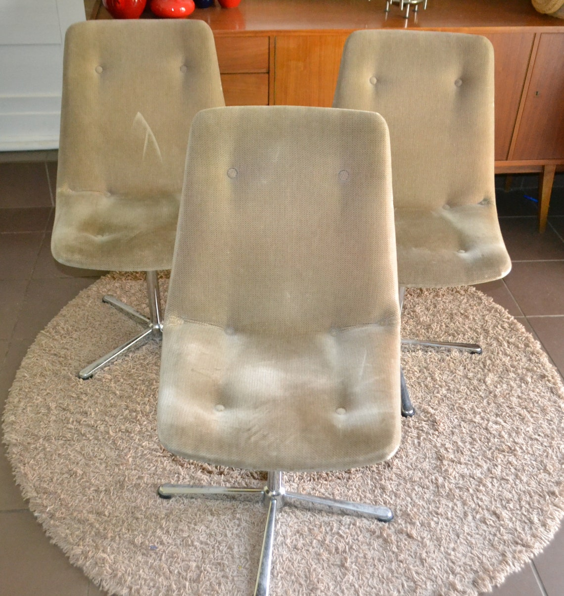 Vintage Swivel Chair 70s Retro Seventies Mid Century Space Age Beige /Silver