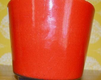 Vintage Overpot 70s Flower Pot Ceramic Red Mid Century Retro