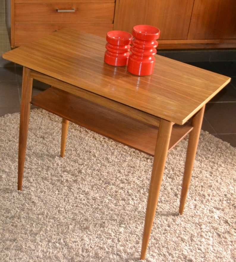 Brilliant Vintage Side Couch Table 60S Retro Mid Century Caraccident5 Cool Chair Designs And Ideas Caraccident5Info