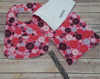 Gift Set - Bib, Paci Clip, Burp Rag - Pink/Black