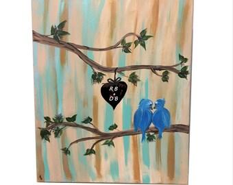 "Love Birds on Branch PERSONALIZED Original Acrylic Painting 16"" x 20"" Blue/AquaMarine/Beige/Brown"