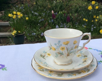 Colclough Angela Trio Cup Saucer Tea Plate Yellow floral