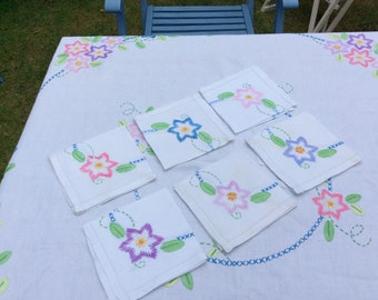Hand-embroidered vintage tablecloth with matching napkins