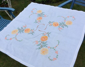 Beautiful Hand-embroidered Brightly Coloured Vintage Tablecloth