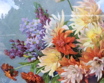 Signed Print Still Life Bowl of Flowers
