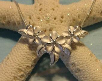 Sterling Silver Plumeria Pendant Necklace, Plumeria Slider Necklace, Hawaiian Flower Pendant