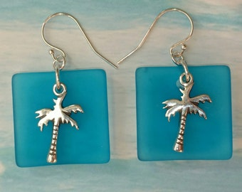 Sea Glass and Palm Tree Earrings, Beachy Earrings, Vacation Jewelry
