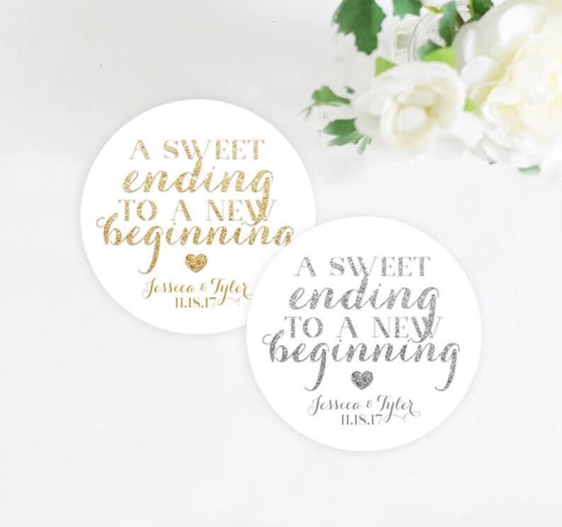 A Sweet Ending To A New Beginning Wedding Favor Sticker Gold Etsy