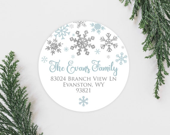 winter snowflake holiday address labels cute silver faux etsy