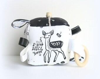Baby block, teething toy, woodland baby block, baby boy shower gift, fabric baby block, deer baby toy, black and white block, fox toy