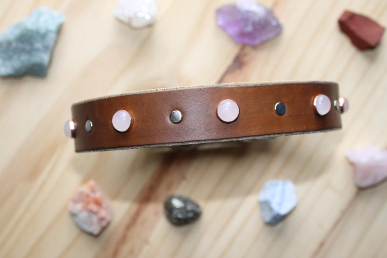 Pink Rose Quartz Leather Gemstone Dog Collar