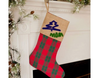 Plaid Burlap Stocking Personalized