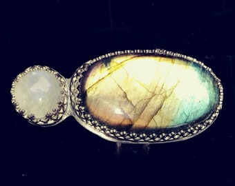 Labradorite with a Little Moonstone Ring