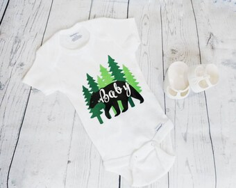 Baby Bear Outfit - Baby Shower Gift - Baby Bear - Forest Theme - Pregnancy Announcement - Black Bear - Custom Baby Shirt - Baby pajamas