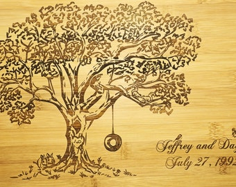 Custom for Megan, Engraved Cutting board, Personalized Wedding Gift, 5th Anniversary Gift, Bridal Shower, Tree with Swing Bamboo board