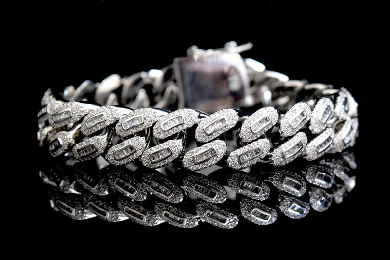 cbb95f6955f01 14k White Gold Iced Out Baguette Lab Diamond Solid Back Miami Cuban  Bracelet 8.5