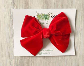 Bright Red velvet bow - oversized bow - fall bow - girls red bow - school bow