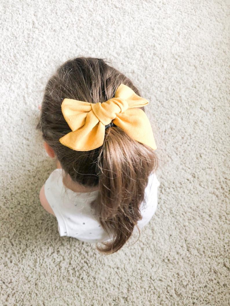 Mustard Linen Large Schoolgirl Bow
