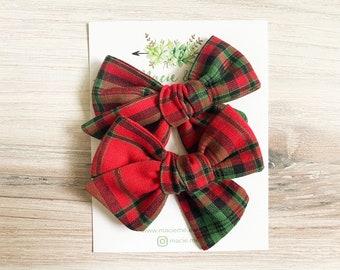 Red Plaid Medium Schoolgirl Bow(s) - Christmas hair Bows - Pigtail Bows - Pinwheel Pigtail Bows - Red Hair Bows