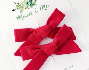 Red Pigtail Bows
