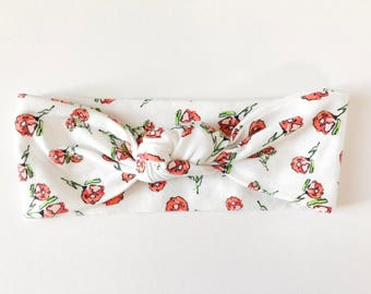 White Floral Top Knot Headband