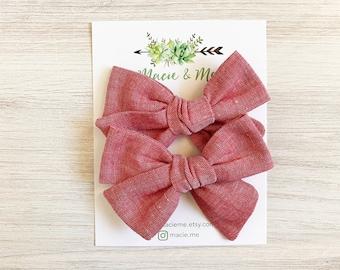 Red Chambray Medium Schoolgirl Bow(s) - Christmas hair Bows - Pigtail Bows - Pinwheel Pigtail Bows - Red Hair Bows