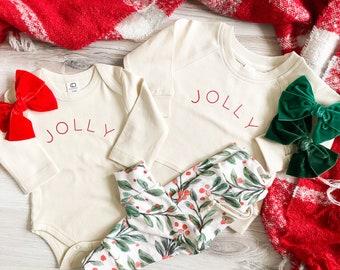 Jolly Crewneck or Bodysuit - Organic Clothing - toddler girls - Christmas Shirt Print - Christmas Outfit - Holly Jolly