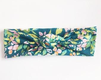 Dark Teal Floral Top Knot Headband / Knotted Headband / Baby Turban / Baby Gift / Toddler Headband / Macie and Me / Adult Headband
